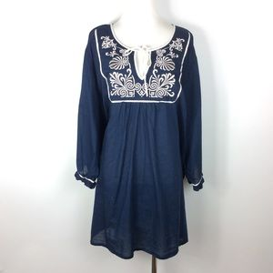 Lane Bryant Navy Blouse with Embroidery Size 26/28